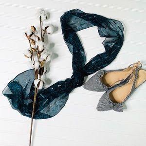 W by Worth Teal Black Sequin Silk Scarf